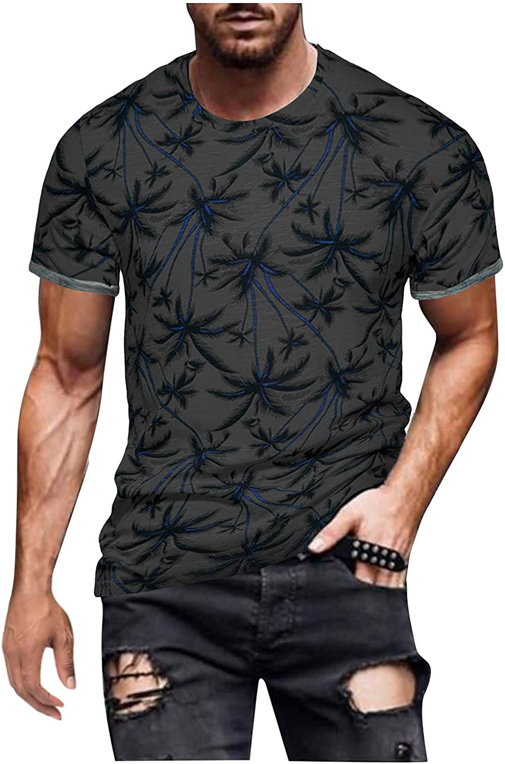 DZQUY Mens Gym Muscle Shirt Short Sleeve Summer Casual Vintage Oil Painting Print Hipster Hippie Graphic T-Shirts Tops
