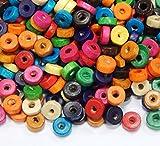 Perlin - Holzperlen 8mm Rondell mit Loch 500stk Bunte Donut Holz Perlen zum fädeln Perlenmischung für DIY Schmuck Herstellung Wood Beads H55 x2