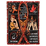 Leukemia Awareness Orange Ribbon Symbol Survivor Warrior Fighter Quilt Blanket Fleece Throw Twin Queen Size Tapestry Wall Hanging