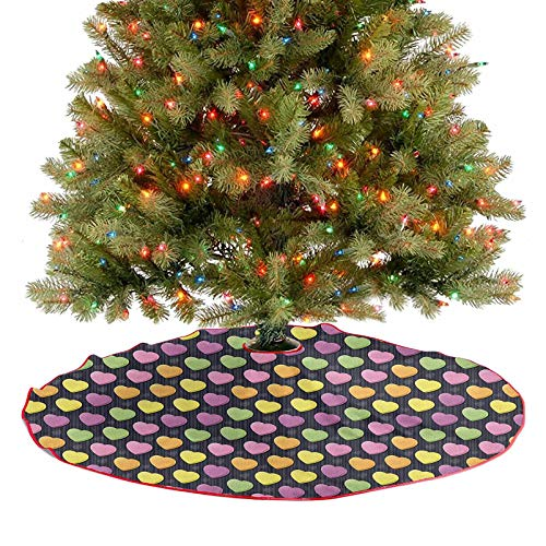 Homesonne Rustic Xmas Tree Skirt 3D Style Heart Shapes in Lively Colors Diagonal Pattern on Striped Black Background Christmas Decoration for Holiday Decorations Multicolor 36 Inch