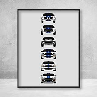 Shelby Mustang GT500 Generations Poster Print Wall Art of the History and Evolution of the Ford Shelby GT500 (White Car, Blue Stripes)