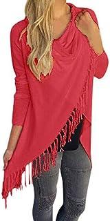 comprar comparacion Cardigans Mujer, Irregular Cárdigans de Punto con Cuello Redondo y Mangas largas con borlas de Mujer Blusa Tops Camisa Jer...