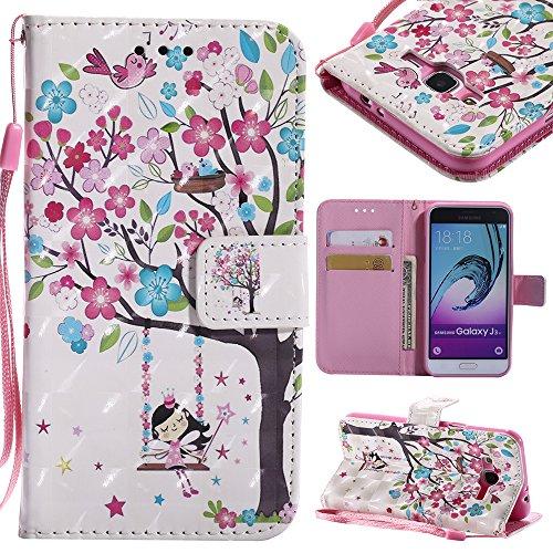 Funda Samsung Galaxy J3 2016 (J310) Carcasa Libro De Cuero Impresión PU Premium 3D Bling Patrón con TPU Silicona Case Interna Suave,Soporte Plegable,Ranuras para Tarjetas Y Billetera,Cierre Magnético