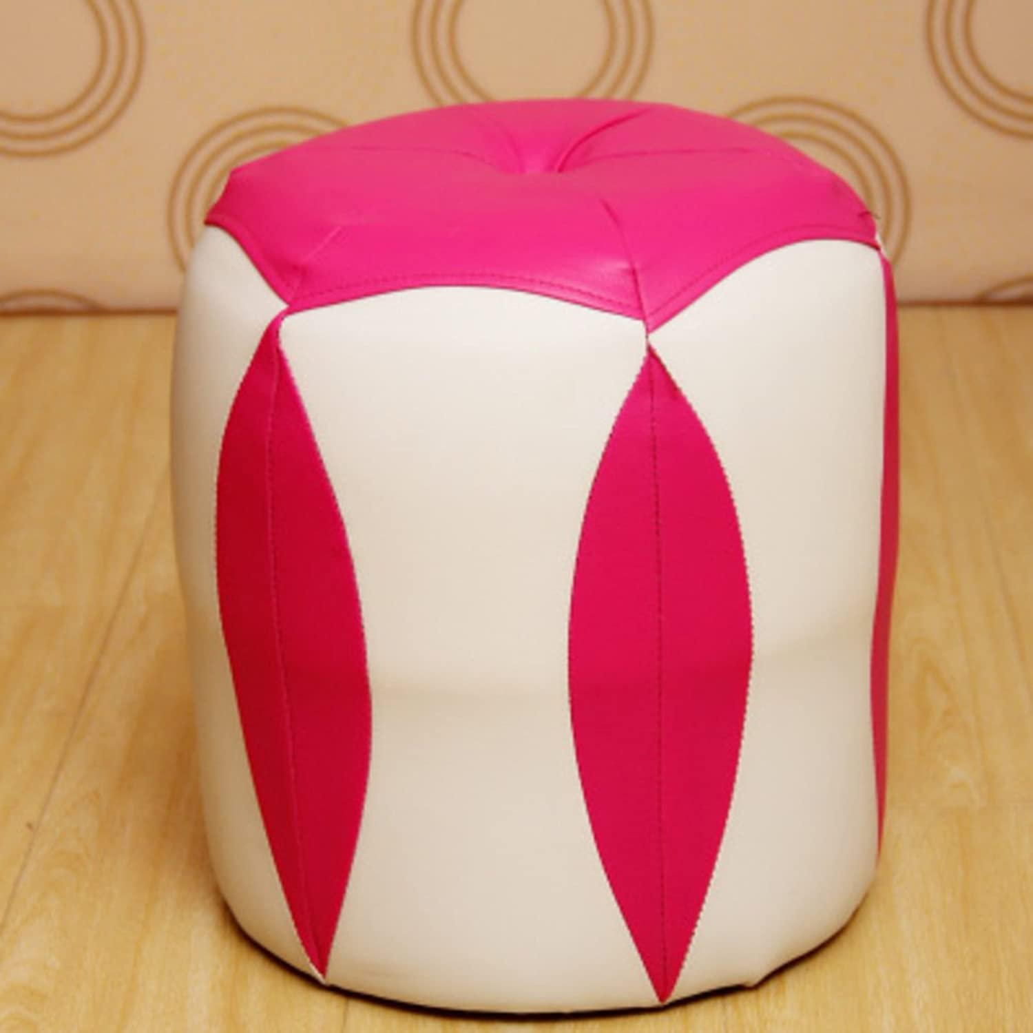 HM&DX Change shoes Stool Round Stool Wooden Leather Stool Simple Modern Creative Toilet Stool Table Stool Small Bench-taobao-pink
