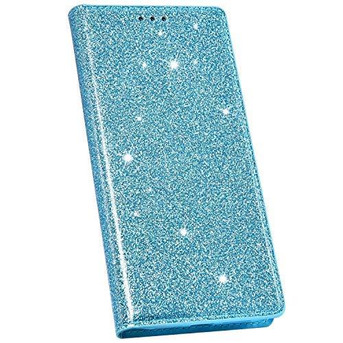 Ysimee Compatible avec Coque iPhone 11 Pro 5.8 Mode Glitter Housse en Cuir Coque à Rabat Portefeuille Aimant à Enfiler avec Emplacement pour Cartes de Crédit et Fonction Béquille,Bleu Ciel