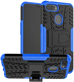 OPPO F9 Case, Ikwcase Heavy Duty Armor Tough Hybrid Shockproof Dual Layer Kickstand Protective Case Cover for OPPO F9 Blue
