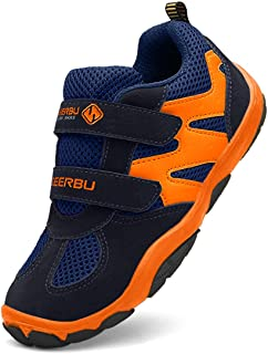 DADAWEN Kid's Breathable Outdoor Hiking Sneakers Strap Athletic Running Shoes Orange Size: 4 Big Kid