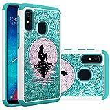 Samsung Galaxy A10e Case, Galaxy A20e Case for Girls Women, Cute Mermaid with Moon Pattern Heavy Duty Shockproof Studded Rhinestone Crystal Bling Hybrid Case Silicone Armor for Samsung Galaxy A10e