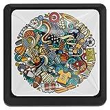 Schubladenknöpfe für Sport Graffiti-Küchenschrank-Griff, quadratisch, 3 Packungen für Schrank, Schrank, Kommode, Tür, Heimdekoration