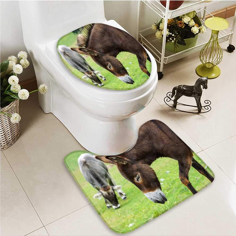 Printsonne Cushion Non-Slip Toilet Mat Donkeys Soft Non-Slip Water