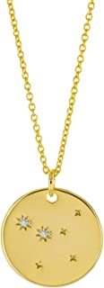 14K Gold Plated Astrology Horoscope Constellation Zodiac Coin Necklace