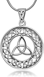 Sterling Silver 23 mm Trinity Knot Celtic Symbol Round Weave Pendant Necklace for Women 18''