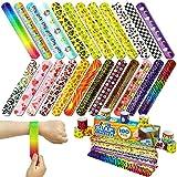 JOYIN 72 PCS Pulseras de Juguete bofetadas Bandas para niños Llenadores Bolsos para niños niñas favores Fiestas Cumpleaños 24 Tipos de Slap Bracelets