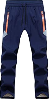 FAIRYRAIN Niño Deporte al Aire Libre Pantalones de Montaña Impermeables Transpirable Softshell Fleece Lined Pantalones Dra...