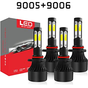 A-Partrix 9006 HB4 LED Headlight Bulb 4 side 6000K 36W 8000 Lumens Xenon White Extremely Bright All-in-One Conversion Kit-2 Packs 9006//HB4 9006//HB4