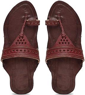 KALAPURI� Ladies Kolhapuri Chappal in Genuine Leather with Brown Pointed Shape Base and Brown Broad V-Shaped Upper. Handma...