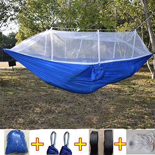 Bureze Mode Parachute Tissu Hamac Double Personne Portable Mosquito Hamac pour Meubles d'extérieur Camping Voyage Jardin balançoire Hamac