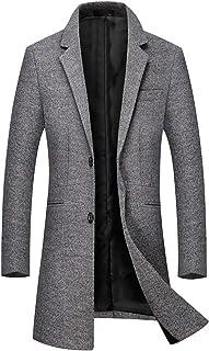 93554cc2e6 Sliktaa Manteau Laine Homme Long Trench Coat Hivers Chaud Slim Manches  Longues Affaires Casual A La