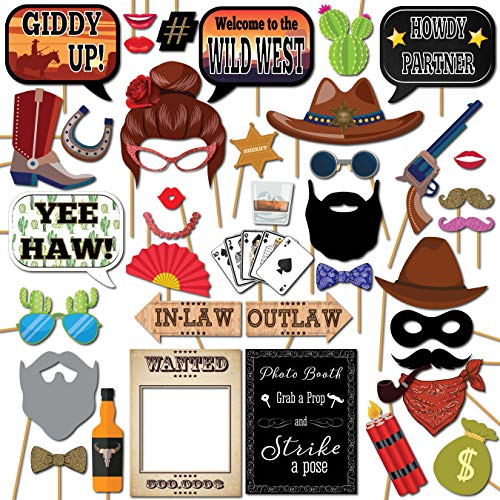 Wild West Cowboy Western Photo Booth Props Party Kit, 41 Pieces with Wooden Sticks and Strike a Pose Sign by Outside the Booth