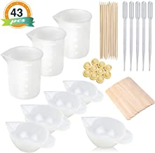 8PCS Silicone Measuring Cups for Resin 100ml 10ml, Nonstick Silicone Mixing Cups, Epoxy Resin Cups, Glue Tools Sticks Pipettes Finger Cots for Epoxy Resin, Casting Molds, Slime, Art, Waxing,Cup Turner