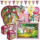 DH-Konzept 69-teiliges Party-Set - Bibi und Tina - Teller Becher Servietten Platzsets Wimpelkette Einladungen Trinkhalme Luftballons Partyboxen für 6 - 8 Kinder