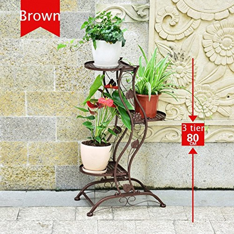 Flower Stand Iron Art Creative Gift Chlgoldphytum Floorstanding Indoor Multi-Layer Flower Stand,Black White Brown 3-5kg,3&5-Tier (color   Brown)