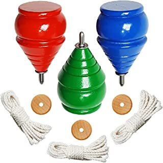 3-Pack Authentic ThrowBak SPIN TOPS [Classic Wooden Trompos] – 100% Made in the USA