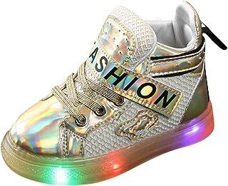 WEXCV Uniseks peuters baby jongens meisjes herfst sequin brief lichte schoenen oplichtend effen anti-slip licht sneaker ad...