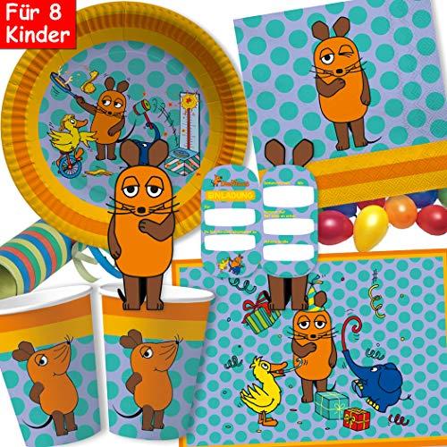 104-tlg Party-Set * DIE SENDUNG MIT DER MAUS * für Kindergeburtstag mit Teller + Becher + Servietten + Sticker + Einladungen + Tischsets + Luftschlangen + Luftballons | Maus Mäuse Detektiv Detektive