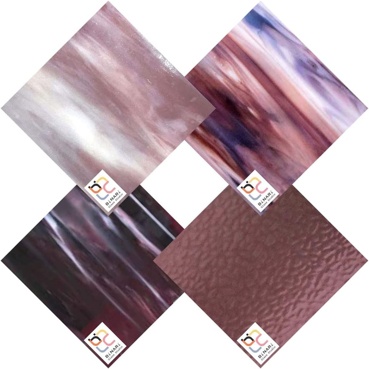 Wissmach Popular Max 64% OFF popular 4 Sheet Mixed Color Glass Purple Stained Pack Variety