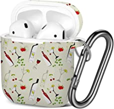 [ Compatible with AirPods 2 and 1 ] Shockproof Soft TPU Gel Case Cover with Keychain Carabiner for Apple AirPods (Wallpaper Glass Bottle)