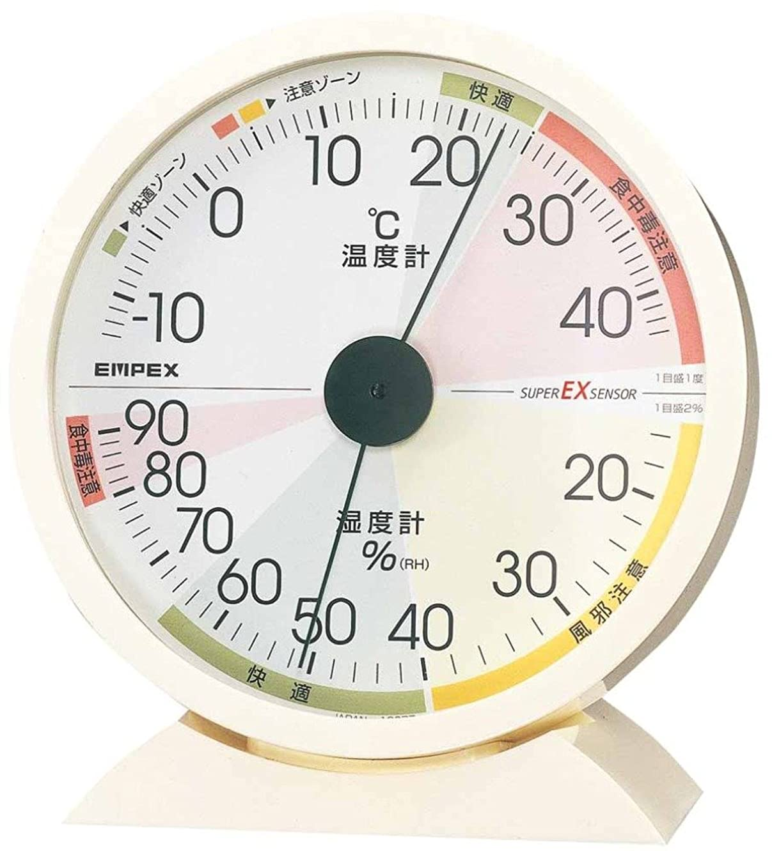 何故なの有害欠如エンペックス気象計 温度湿度計 高精度ユニバーサルデザイン 置き掛け兼用 日本製 ホワイト EX-2841