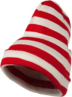 e4Hats.com Red White Wide Stripe Cuff Beanie