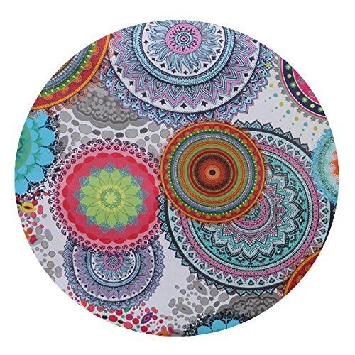 DecoHomeTextil NL Meterware Stoff Teflon RUND OVAL Größe & Farbe wählbar Rund 130 cm Hippy Bunt Tischdecke