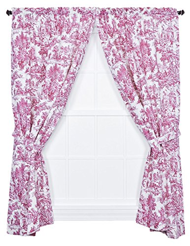 Ellis Curtain Victoria Park Toile 68-Inch-by-84 Inch Tailored Panel Pair with Tiebacks, Red