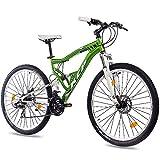 KCP 27,5 Zoll Mountainbike Fahrrad - MTB Attack grün Weiss - Vollfederung Mountain Bike Unisex für Herren, Damen oder Jungen, MTB Fully mit 21 Gang Shimano Schaltung und Zwei Scheibenbremsen