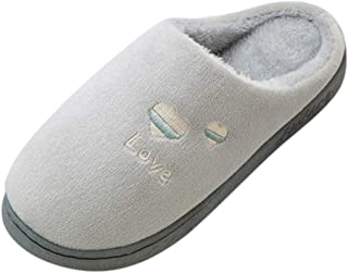 Wadonerful Women Mens Plush Slippers Couples Winter Warm Non-Slip Home Slippers Indoor Shoes Memory Foam Cotton Slipper