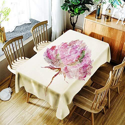 Nappe créative 3D cerf Sika et Motif de Fleurs colorées Nappe Confortable Nappe étanche Maison A4 140x160cm