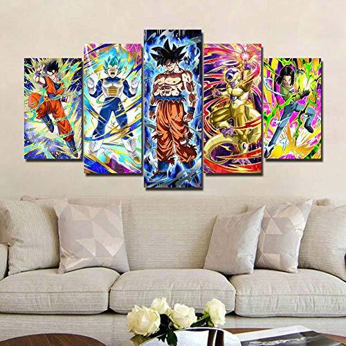 WLQQ Cuadros de Lienzo Dragon Ball Z Goku Vegeta Saiyan Living Room HD Impreso 5 Panel Imagen Modular Arte de la Pared Inicio Pintura Moderna sobre,B,40x60x2+40x80x2+40x100cmx1