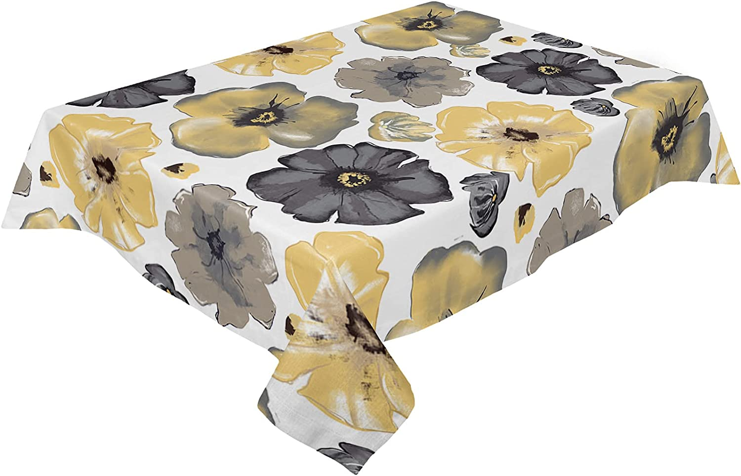 Cotton Linen Limited price sale Colorado Springs Mall Tablecloth Yellow and Black Ta Wrinkle-Free Flowers