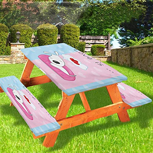 Dog Fitted Tablecloth with Bench Covers,Puppy Dreaming on the Sofa with Heart Symbol on Background Love Valentines Artwork 72' Elastic Edge Fitted Tablecloth Set for Folding Table,Blue Pink White