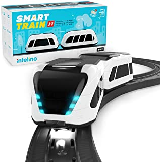 intelino J-1 Smart Train Starter Set - Works Screen-Free and App-Connected - Robot Toy Train That Teaches Coding Through Play - Wooden Train Set Compatible - Ages 3+