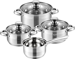 Juego de ollas y sartenes de cocina de acero inoxidable de 7 piezas, cacerola, vaporera, sartén con tapa de vidrio