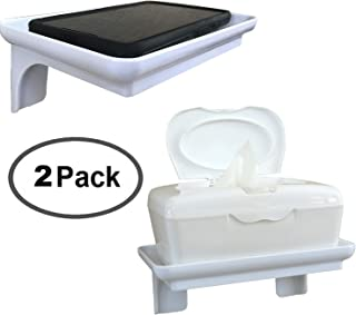 McLee Creations Wonder Shelf - Stick On Wall Mount Cell Phone Holder Stand - Small Plastic Adhesive Bathroom Shelves for Smartphone and Flushable Baby Wipes (2 Pack, White)