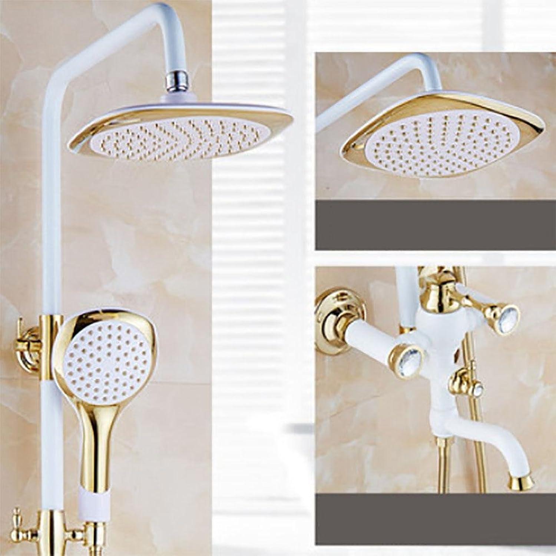 Shower set Kevin Poliert Goldene & gegrillten weien Farbe Dusche Badewanne Wasserhahn Wandmontage Badezimmer Regendusche Wasserhahn, b