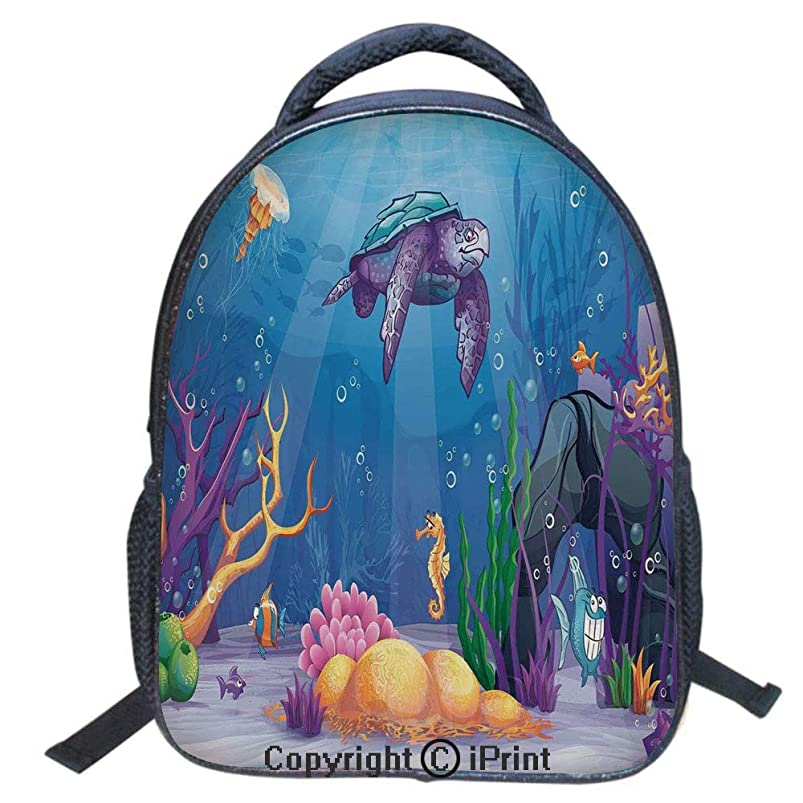 Waterproof Cute School Backpack for Boys and Girls,Water Resistant Fashion College Book Bag Unisex,16 inch,Underwater World Cartoon Style Illustration Funny Fish Jellyfish Sea Horse igdzmzyz990450