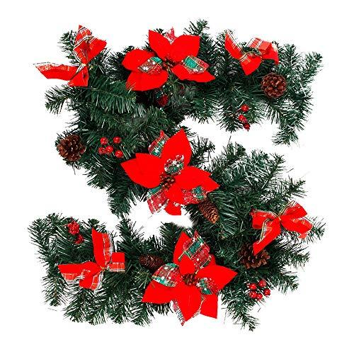 Ghopy Weihnachtsrattan Tannengirlande Weihnachtsdeko Weihnachtsgirlande TürkranzWeihnachten Girlande Weihnachten Tür Fenster Kamin Treppengeländer Deko (2,7m)