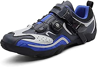 ZMYC Men Road Cycling Shoes Bicycle Shoes Mountain Bike Shoes Breathable MTB Mountain Cycle Sneaker Triathlon Racing Shoes (Color : Blue, Size : 48)