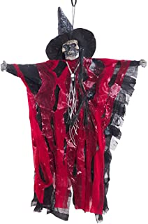 wuliLINL Hanging Scary Wicked Witch Prop Decoration - Spooky Cackling, Sound & Touch Activated Animated Talking Witch Skeleton Ghost Halloween Decoration
