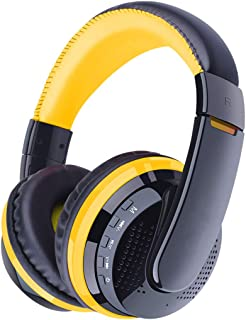 Wireless Noise Reduction Bluetooth Headset Subwoofer Stereo Headphones All Inclusive Earphones (Color : Yellow)